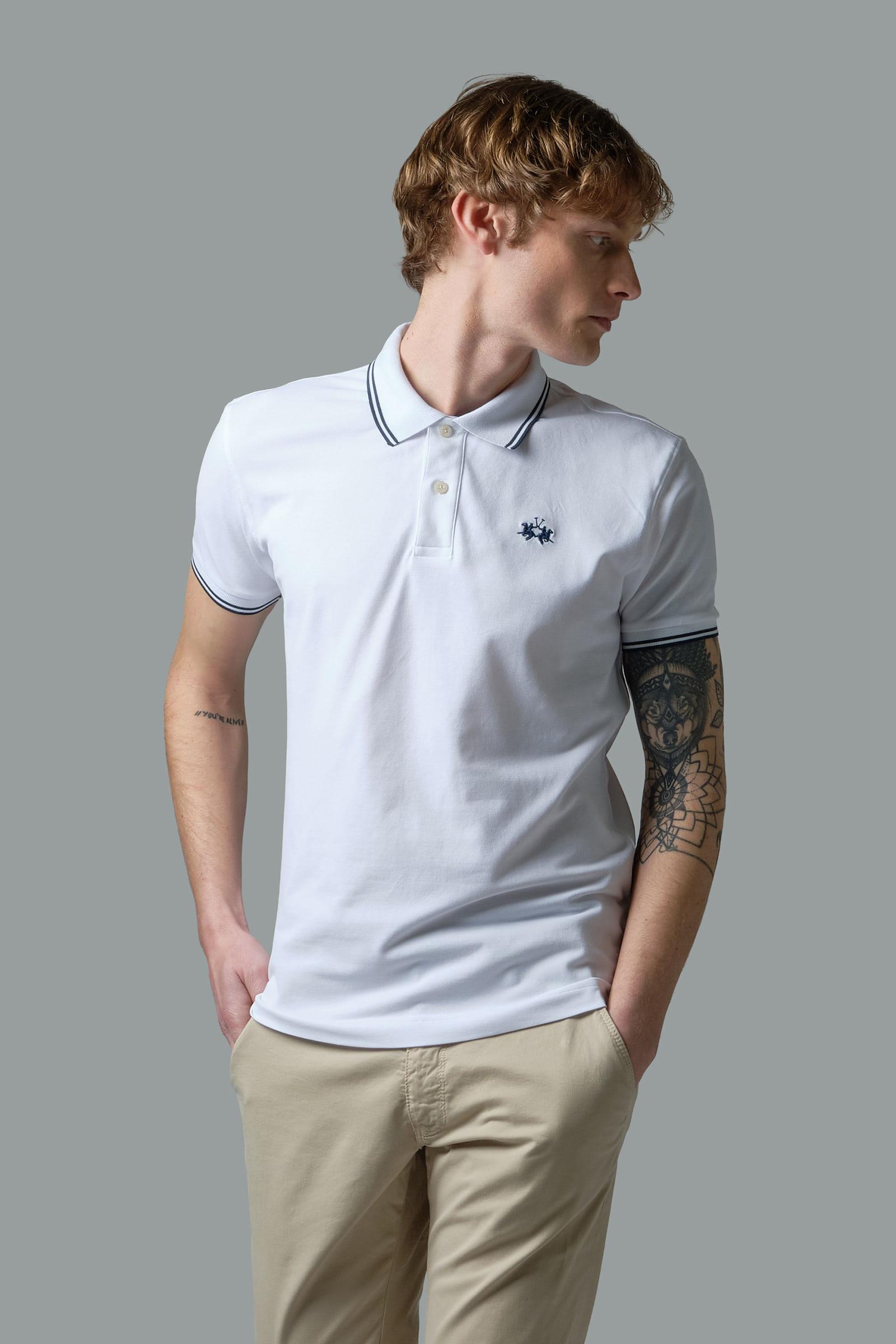 Slim-fit stretch piqué polo shirt Optic White La Martina   Shop Online
