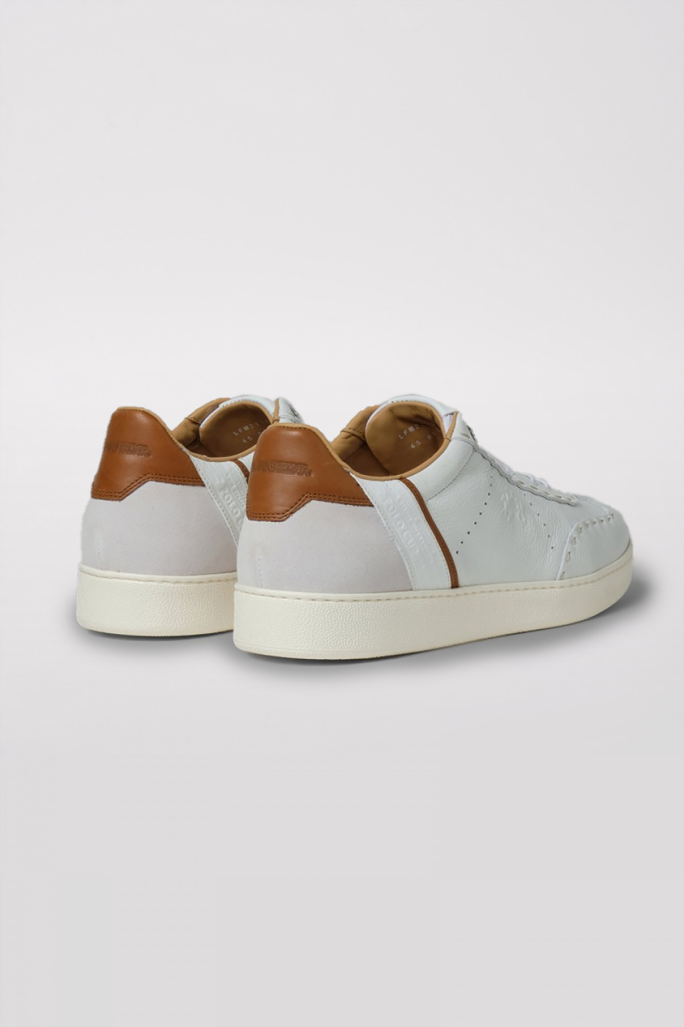 Leather sneakers with a white crepe sole - La Martina - Official Online Shop
