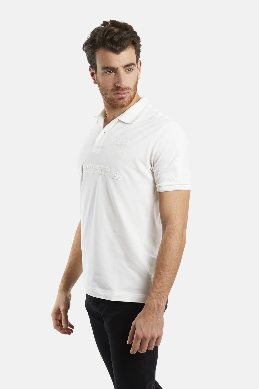 Slim-fit stretch piqué polo shirt