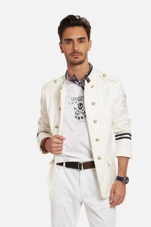 Regular-fit stretch cotton blazer - La Martina - Official Online Shop