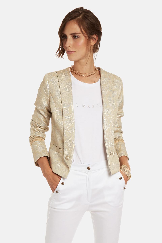 Regular-fit double-breasted cotton-blend jacket - La Martina - Official Online Shop